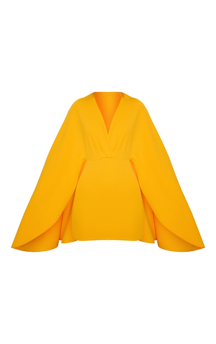 Mustard Cape Detail Bodycon Dress 3