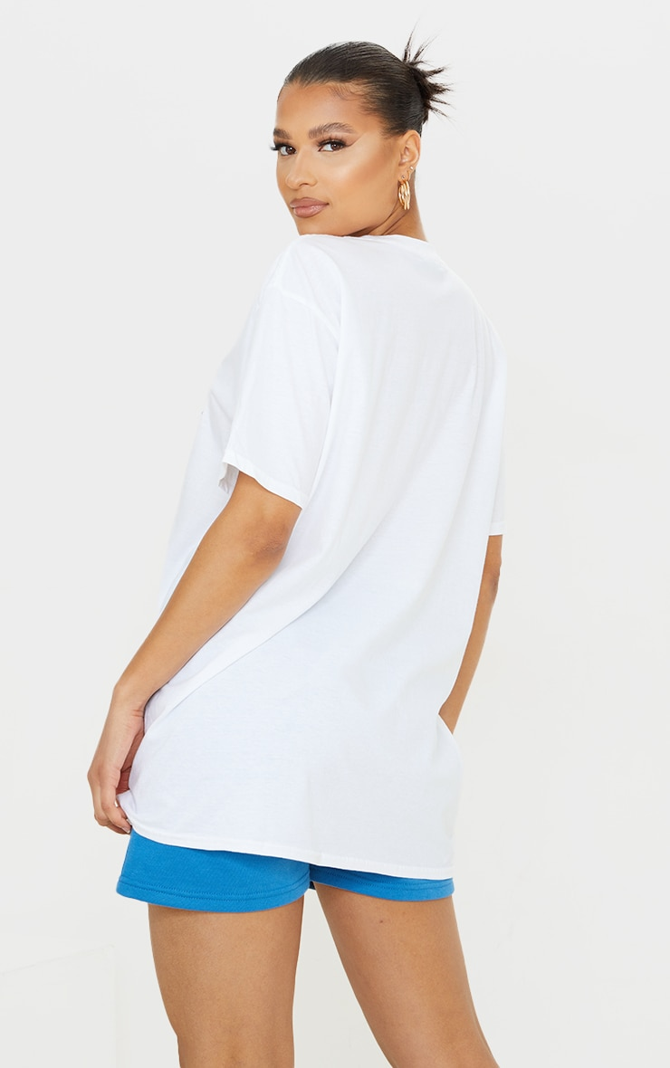 White Weekend Vibes Printed Washed T Shirt 2