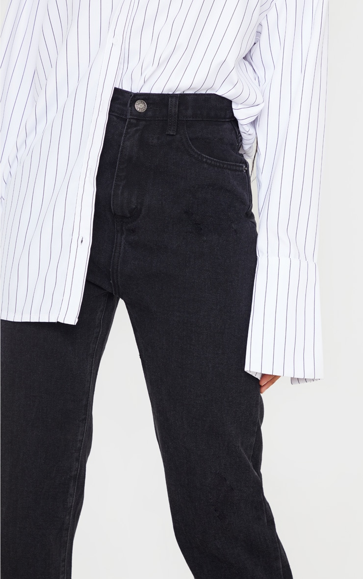 Washed Black Long Leg Straight Jeans 5