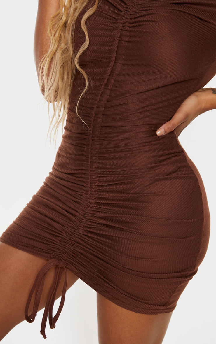 Shape Chocolate Brown Rib Ruched Front Short Sleeve Bodycon Dress 4