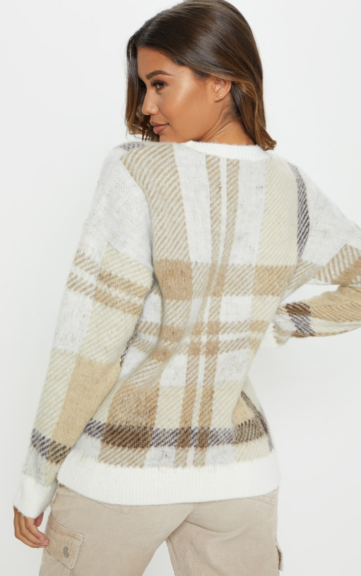 Cream Oversized Brushed Checked Jumper 2