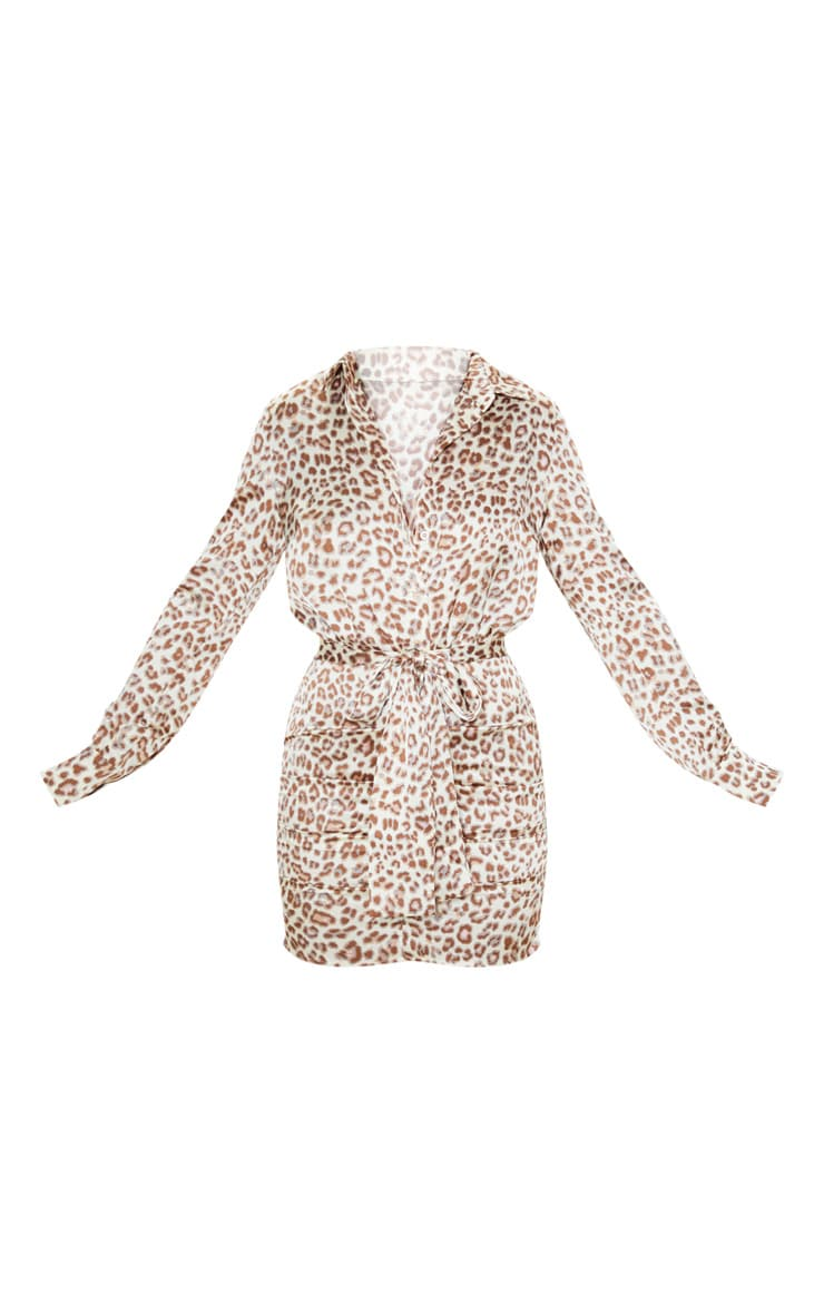 Beige Leopard Satin Ruched Shirt Dress 4