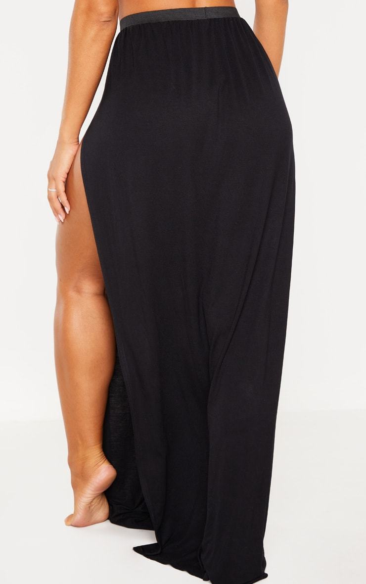 Black Jersey Double Split Beach Skirt 4