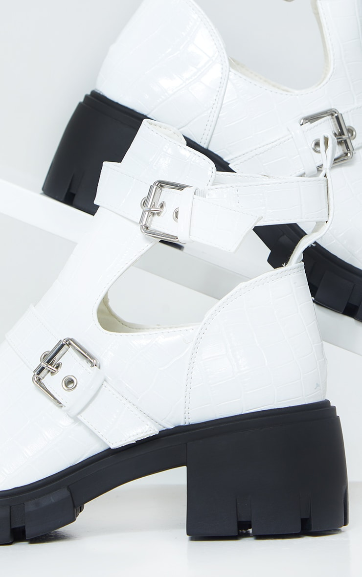White Cut Out Buckle Chunky Boot 4
