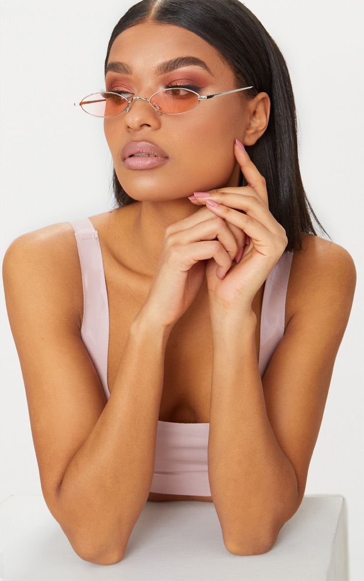 Pink Small Oval Retro Sunglasses 1