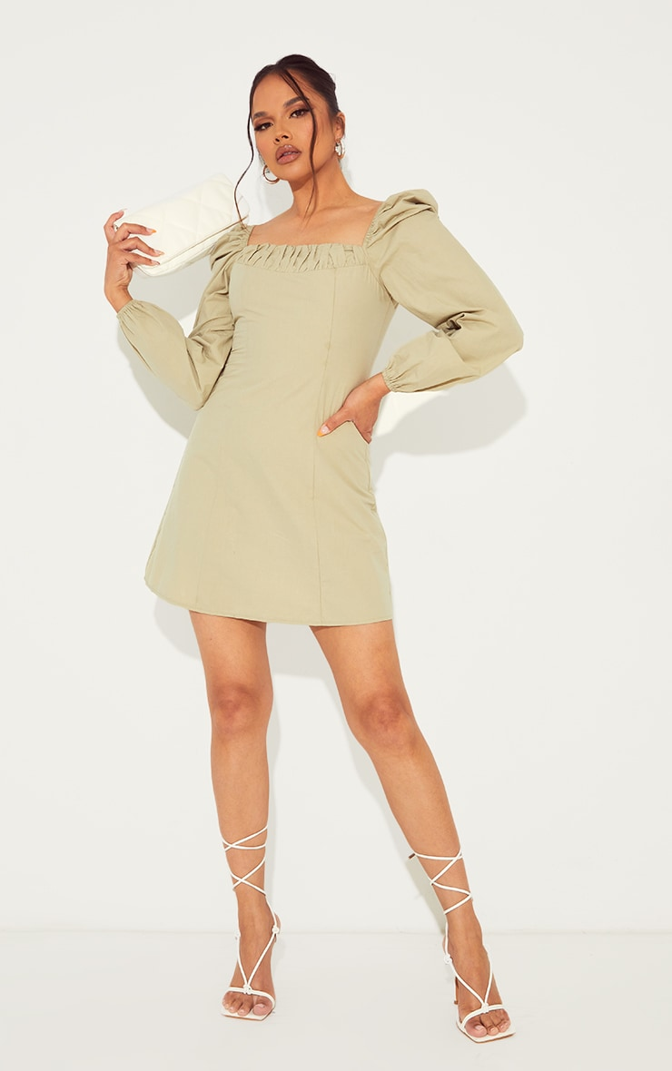 Sage Green Ruched Detail Puff Long Sleeve A Line Shift Dress image 3