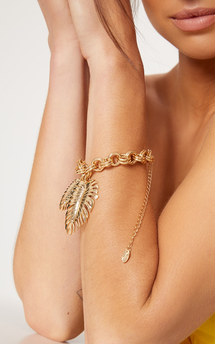 Gold Pineapple Leaf Chunky Chain Bracelet 2