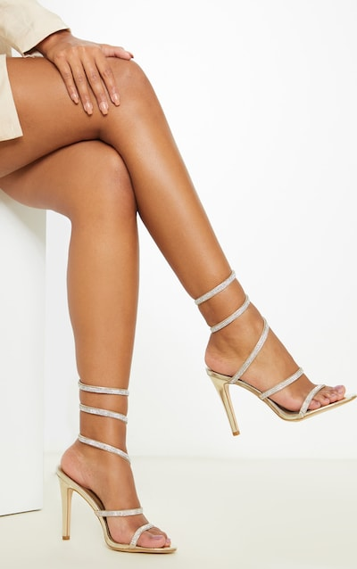 Gold Diamante Ankle Wrap Heeled Sandal