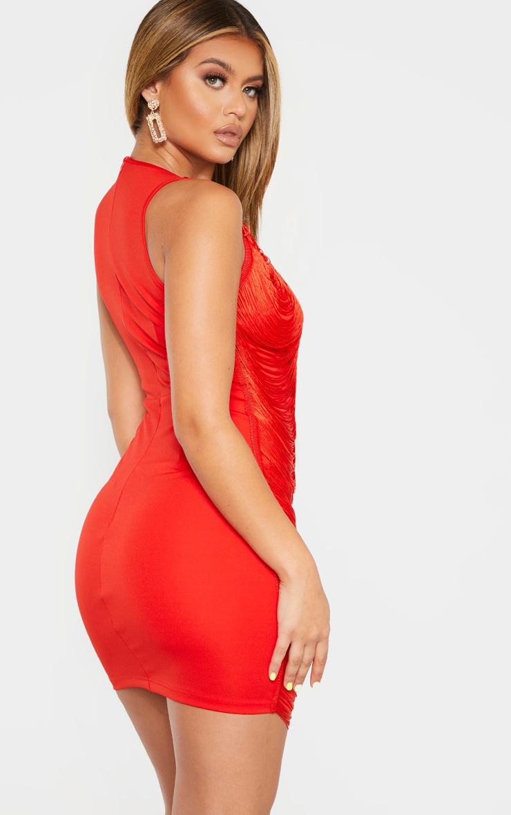 Red Extreme Plunge Tassel Bodycon Dress 2