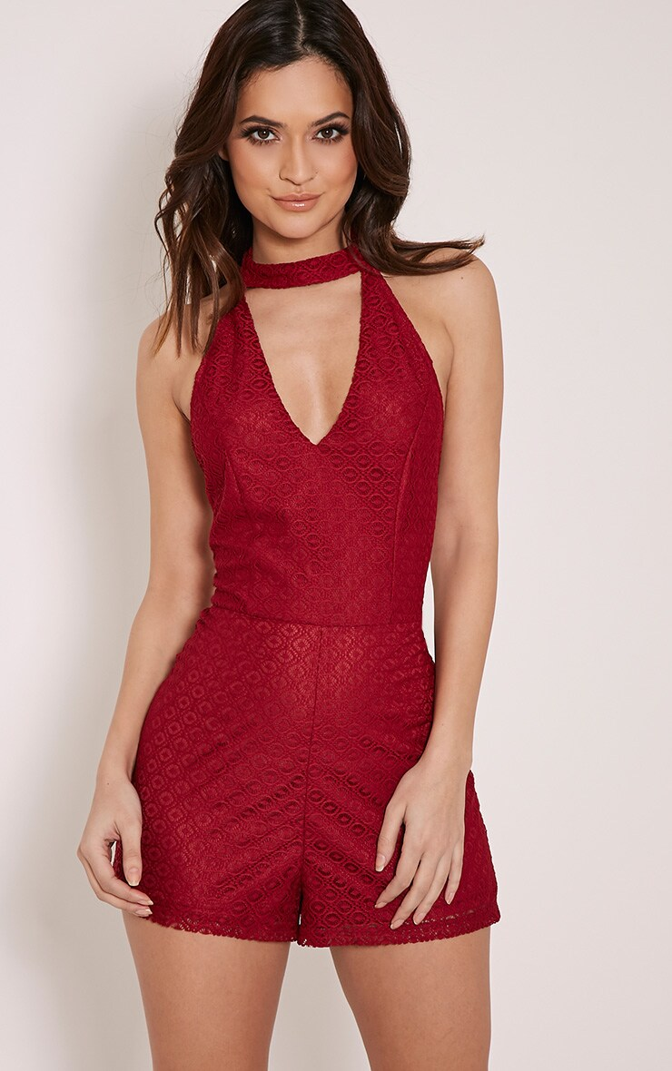 Dani Burgundy Neck Detail Lace Playsuit 1