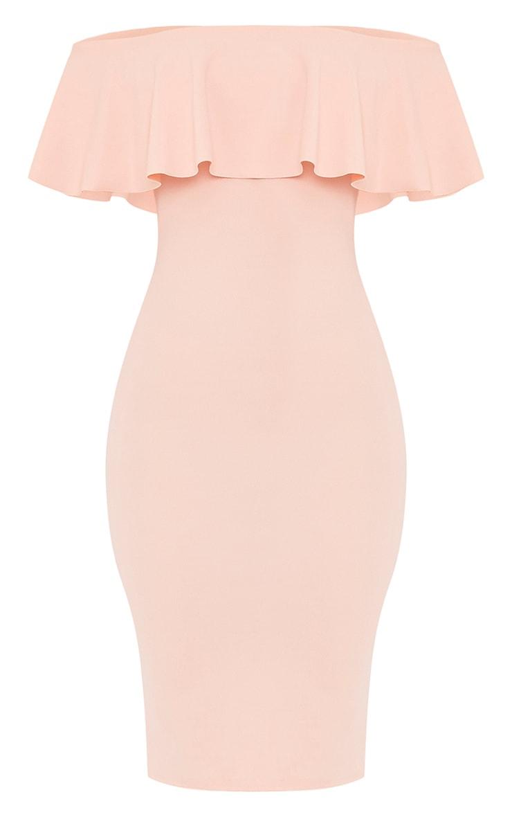 Celinea Blush Bardot Frill Midi Dress 3