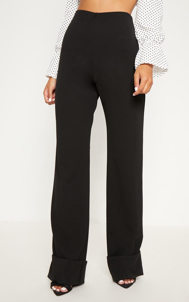 Black Crepe Deep Turn Up Wide Leg Trouser 2