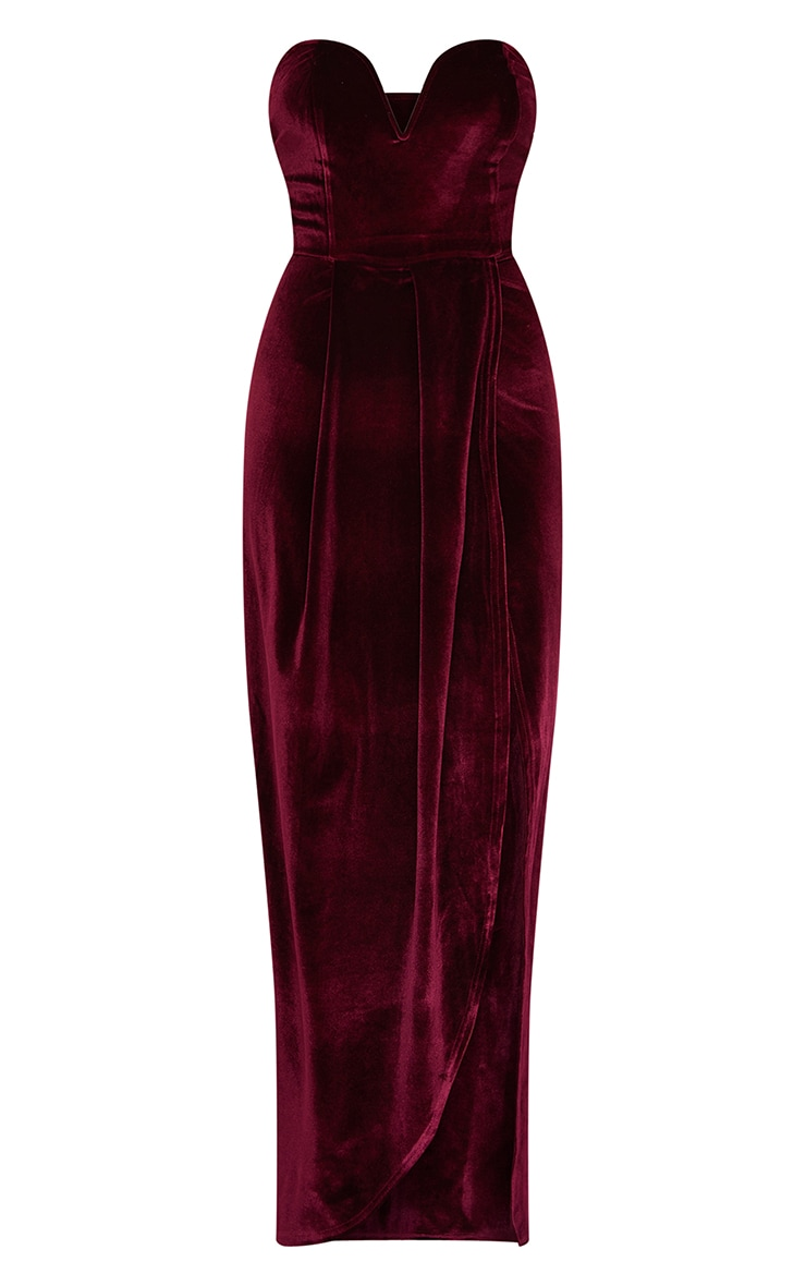 Burgundy Velvet Draped Wrap Detail Bandeau Maxi Dress 5