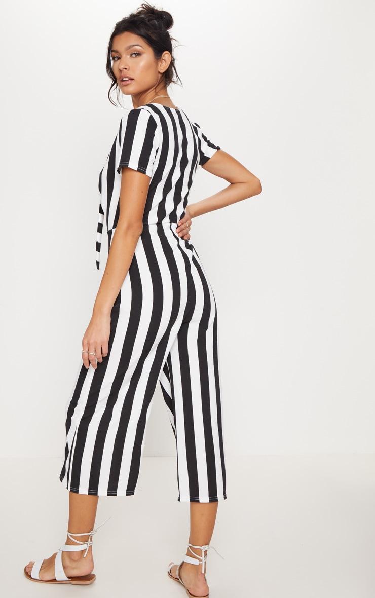 Monochrome Stripe Tie Front Culotte Jumpsuit 2