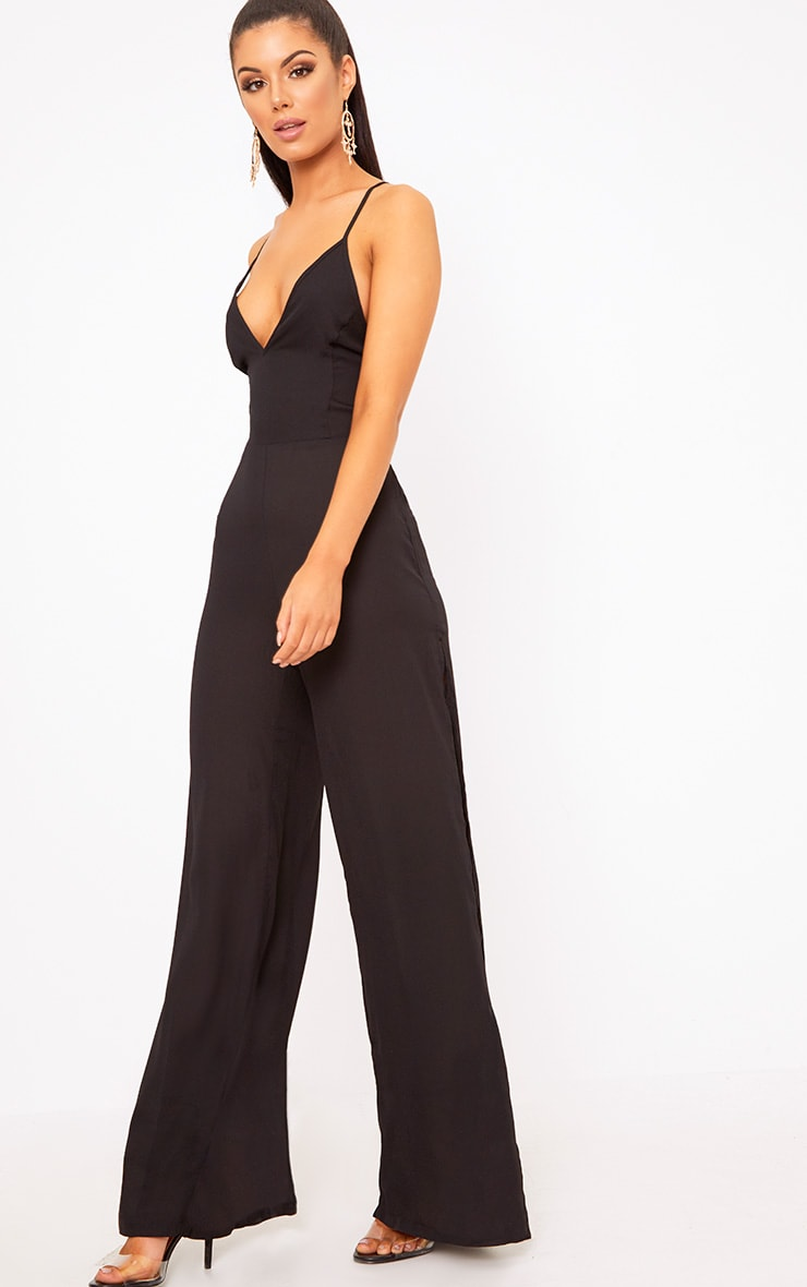 Black Plunge Side Split Leg Jumpsuit  3