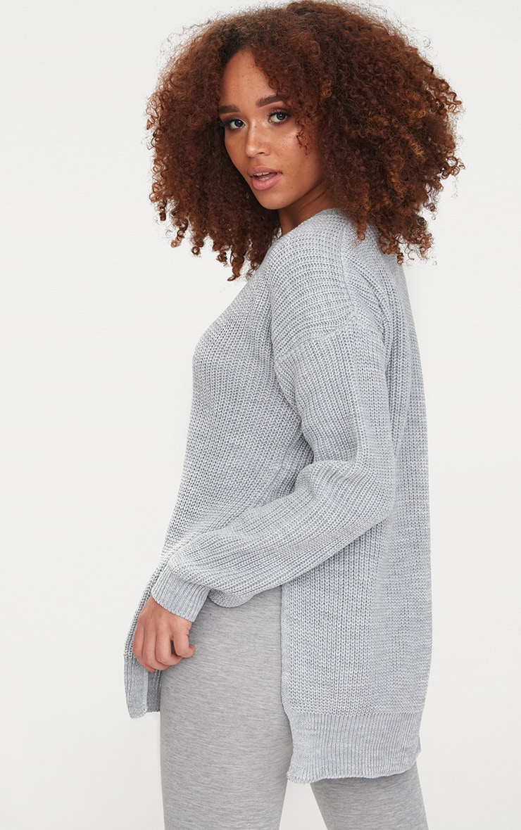 Grey Round Neck Side Split Jumper 2