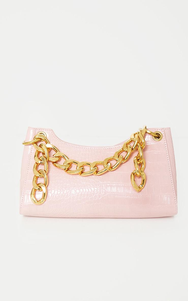 Pink Pu Snake Gold Chunky Chain Cross Body Bag 1