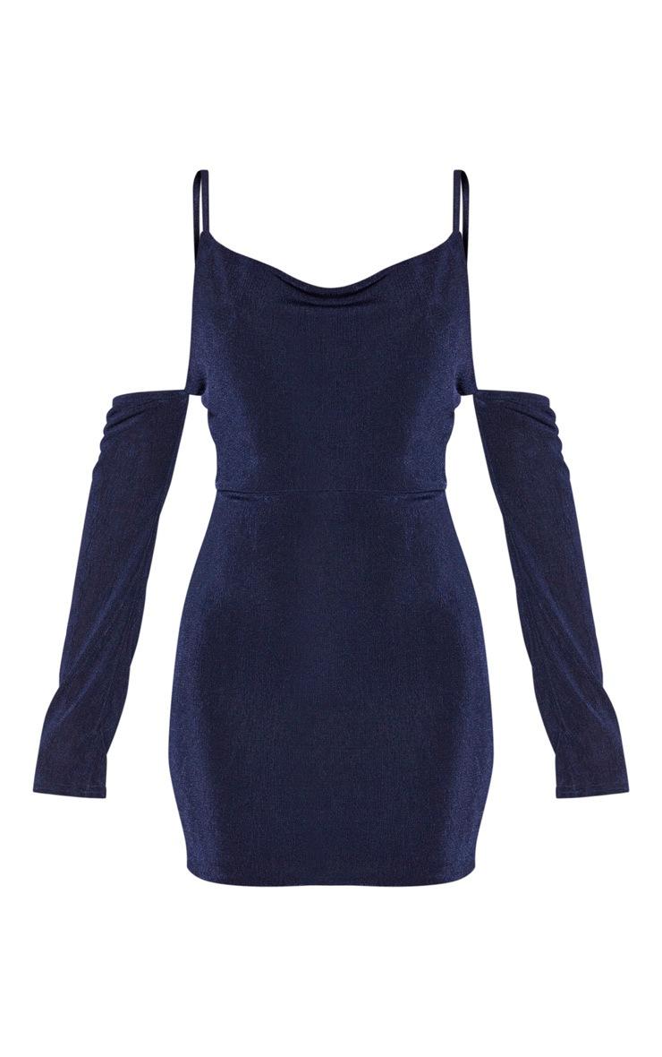 Navy Slinky Textured Cowl Neck Bardot Bodycon Dress 3