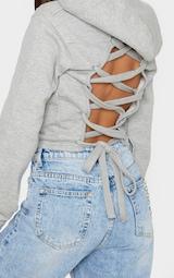 Grey Lace Up Back Crop Hoodie 5
