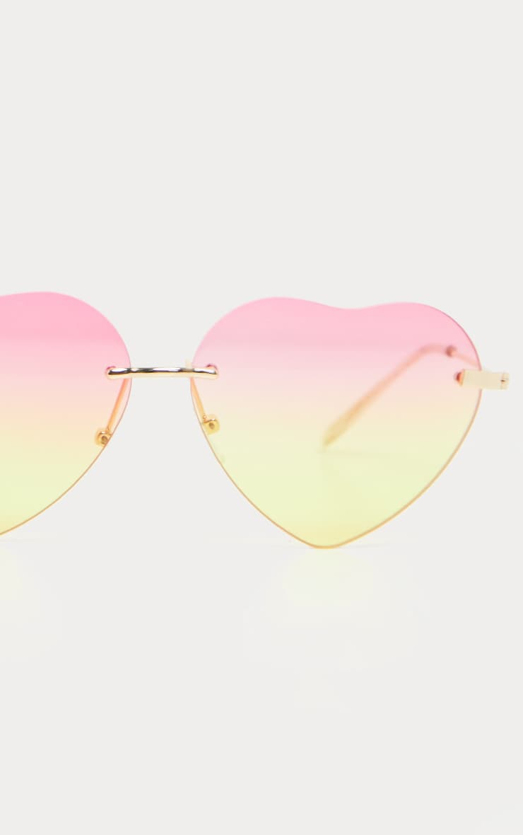 Pink And Yellow Fade Heart Shape Sunglasses 3