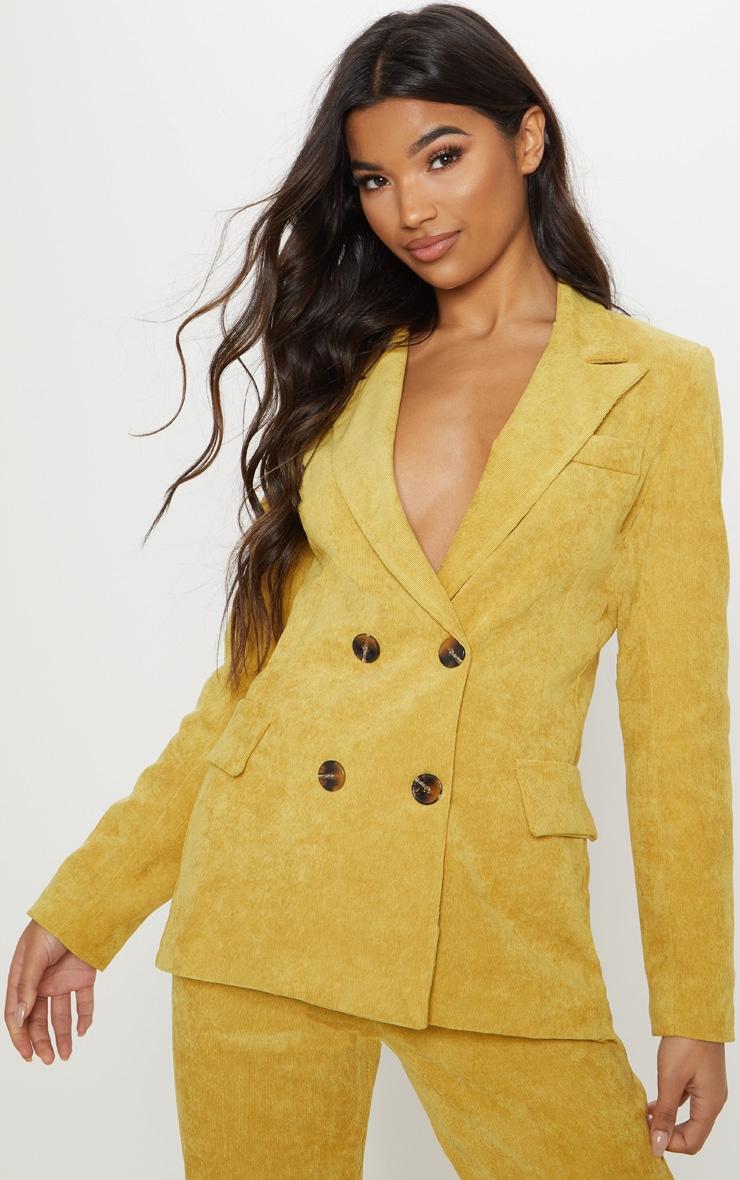 Mustard Cord Blazer  by Prettylittlething