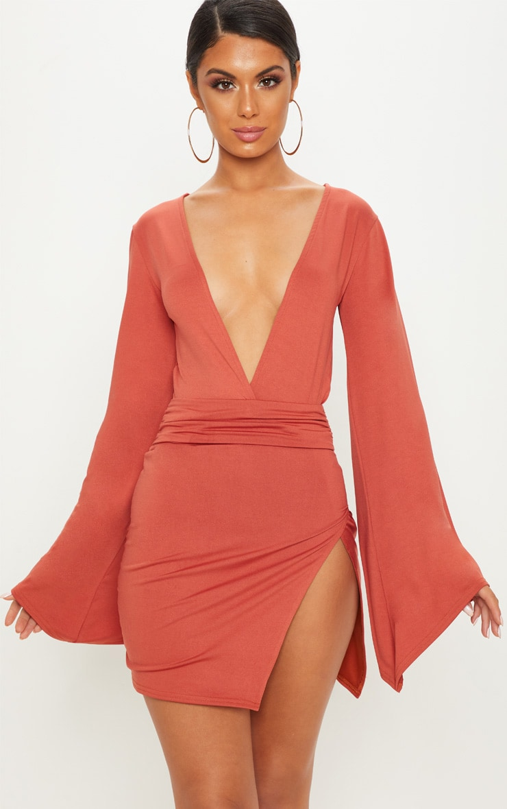 Terracotta Drape Sleeve Plunge Extreme Split Leg Bodycon Dress