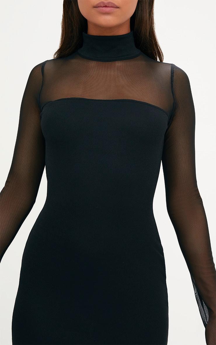 Black High Neck Mesh Panel Bodycon Dress 5