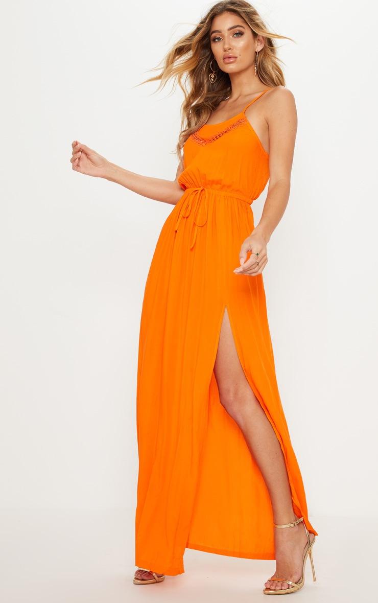 Orange Lace Trim Tie Detail Maxi Dress 4