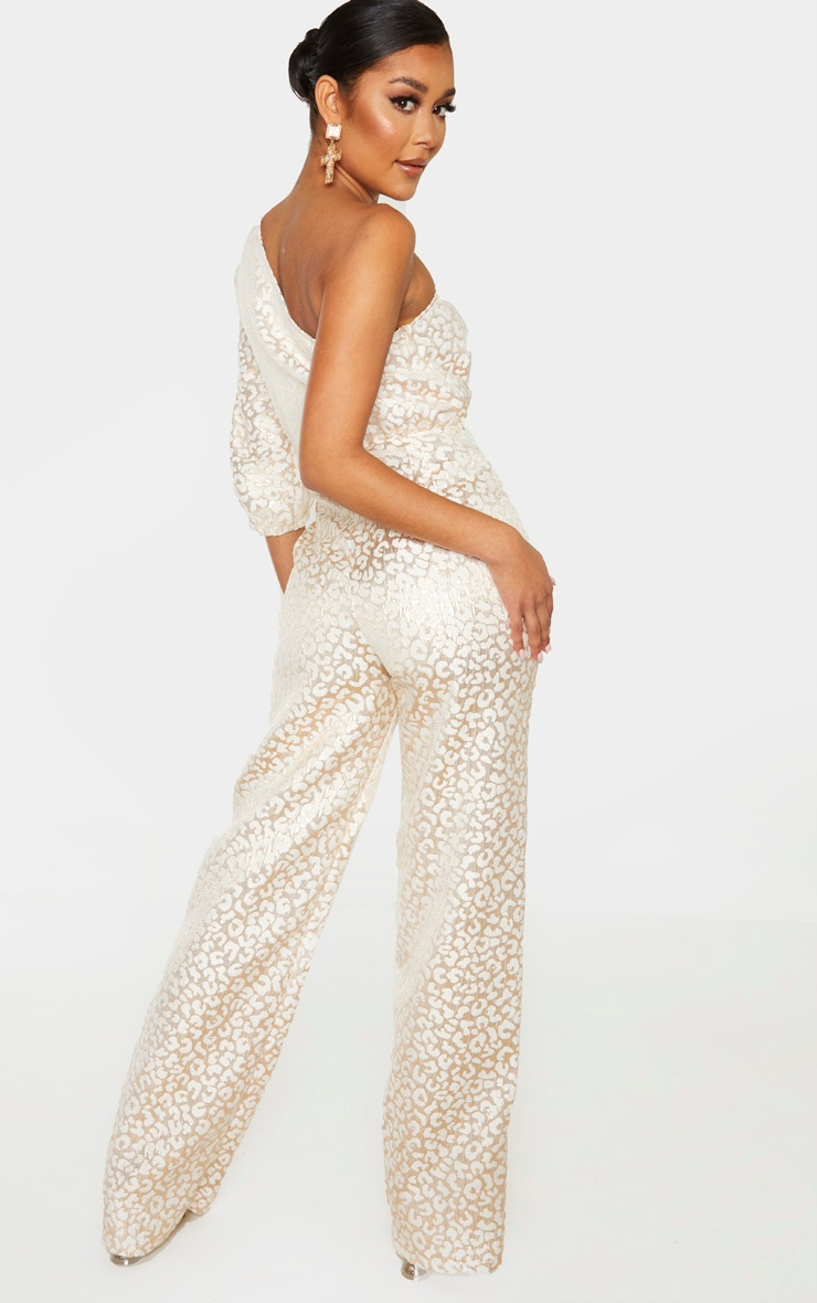 Rose Gold Leopard Jacquard One Shoulder Cut Out Jumpsuit 2