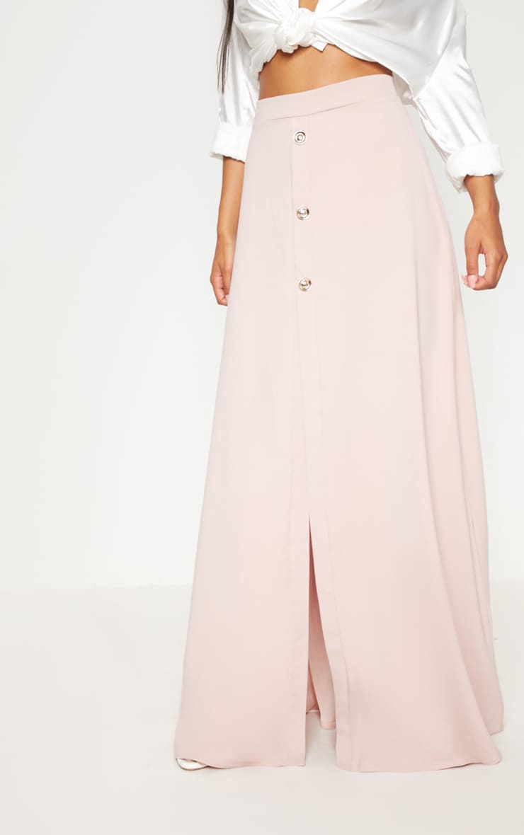Blush Satin Button Front Maxi Skirt 2