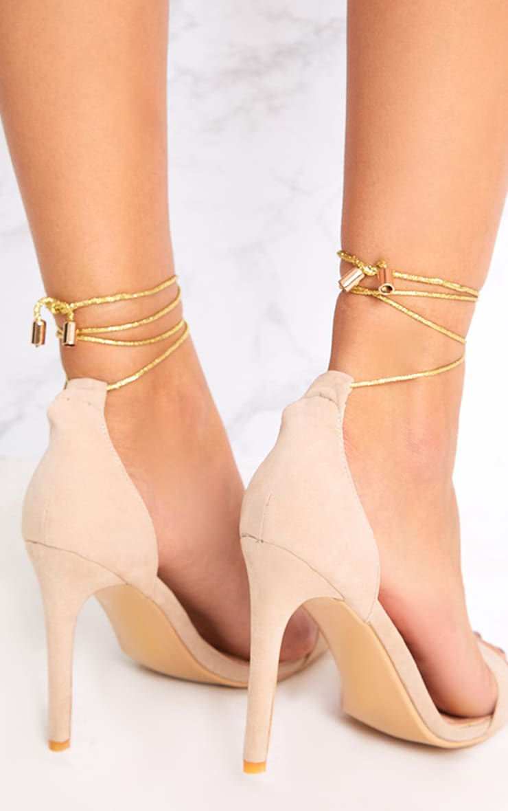 Nude Knotted Strappy Heels 4
