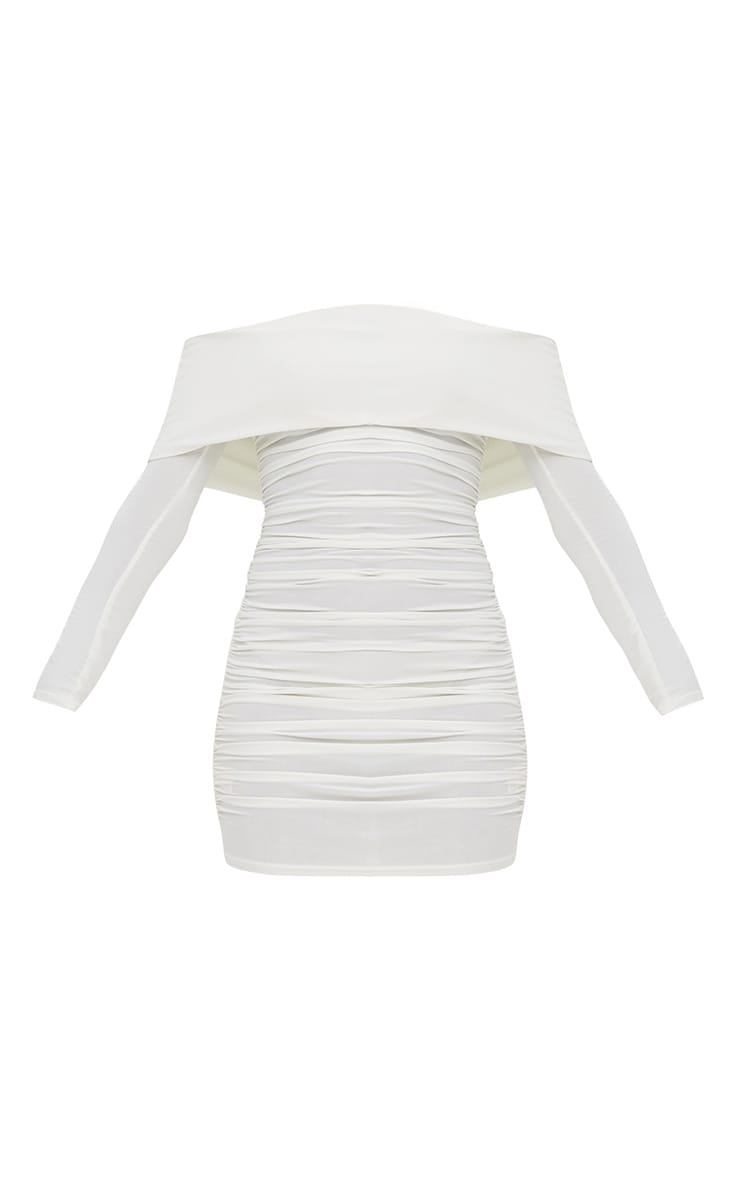 White Long Sleeve Bardot Ruched Bodycon Dress 3