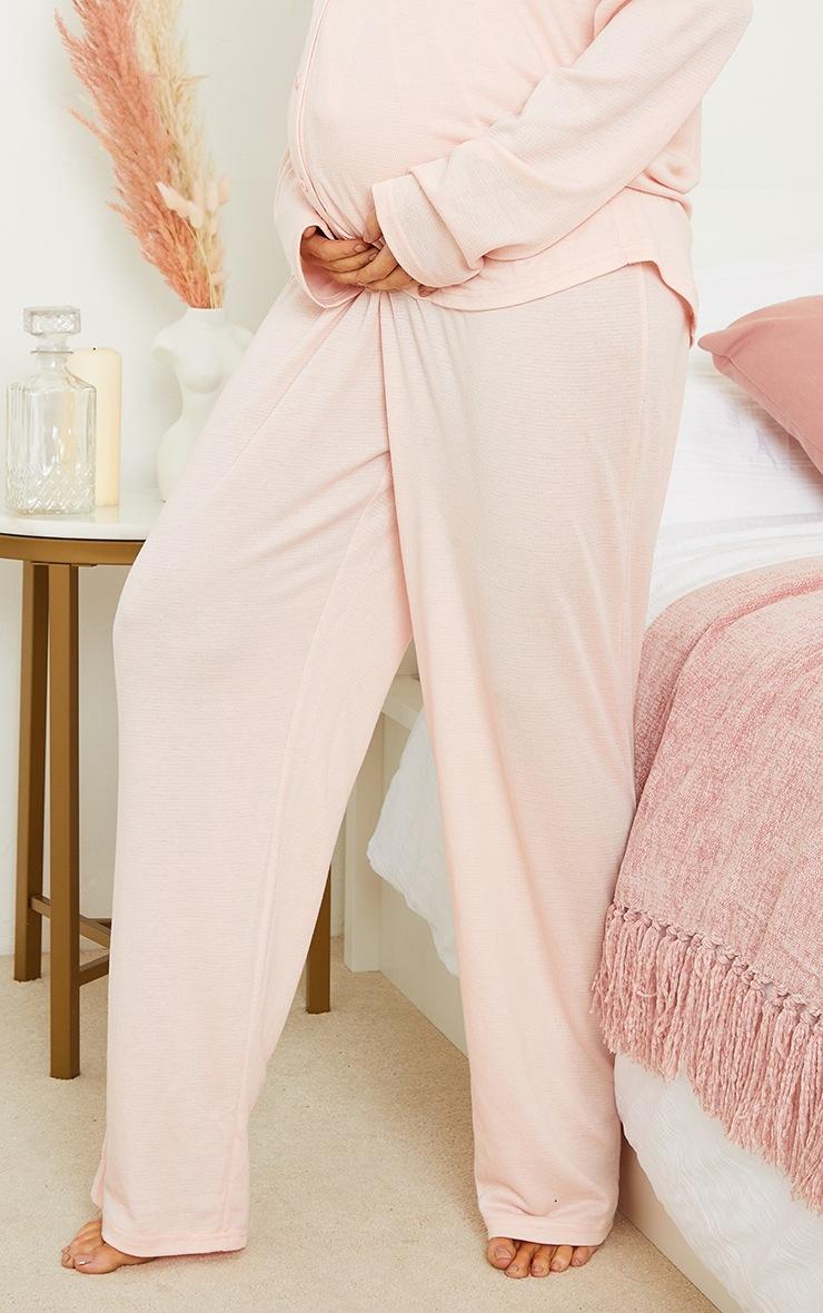Maternity Pink Crinkle Crepe Tie Detail Wide Leg Lounge Pants 4