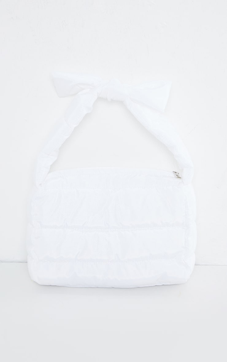 White Quilted Tie Strap Grab Bag 2