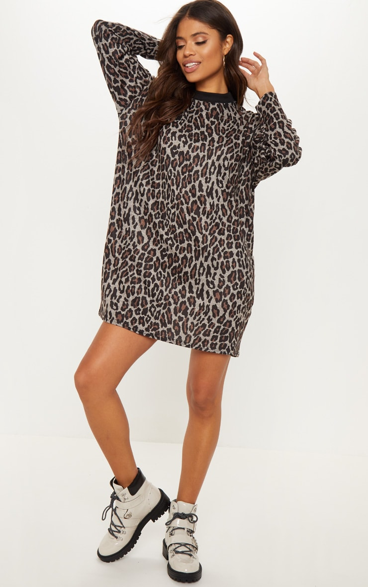 Brown Leopard Print Oversized Jumper Dress 4