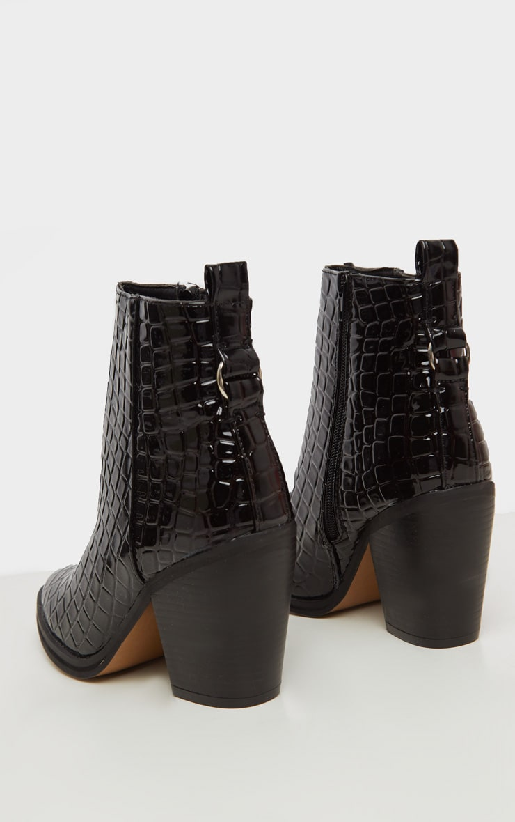Black Patent Croc Western Ankle Boot 3