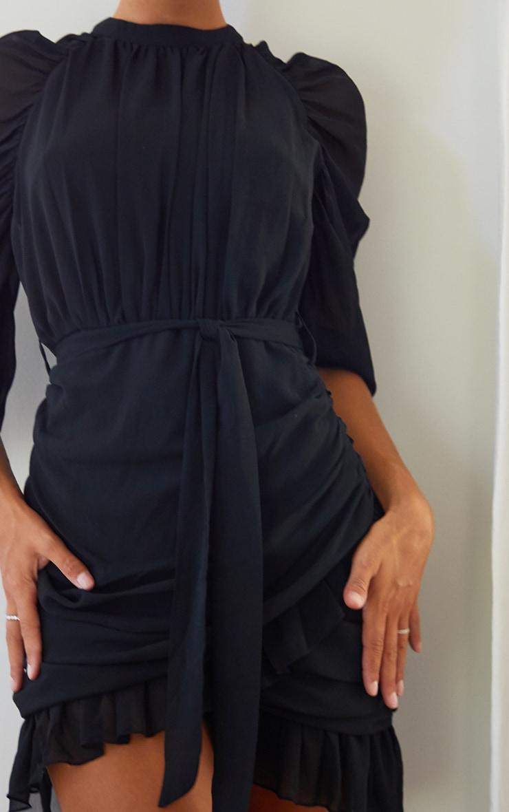 Black Chiffon Ruched Sleeves Frill Hem Bodycon Dress 4