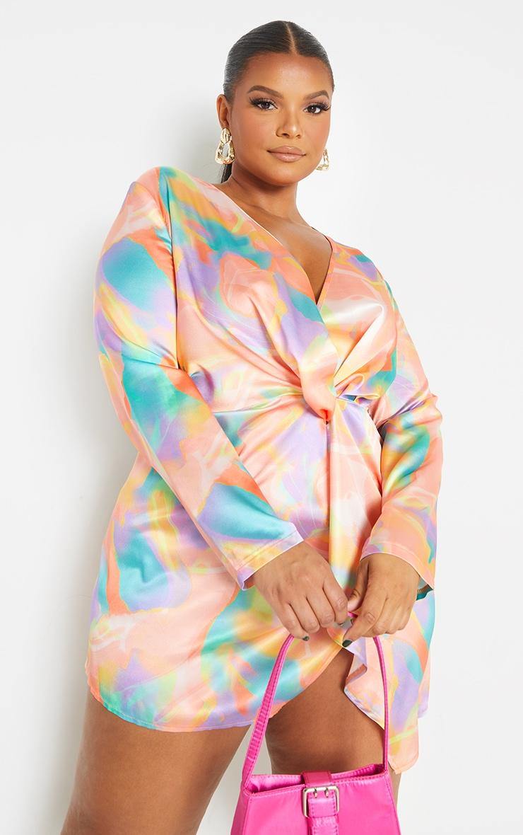 Plus Multi Abstract Print Satin Long Sleeve Wrap Dress 3