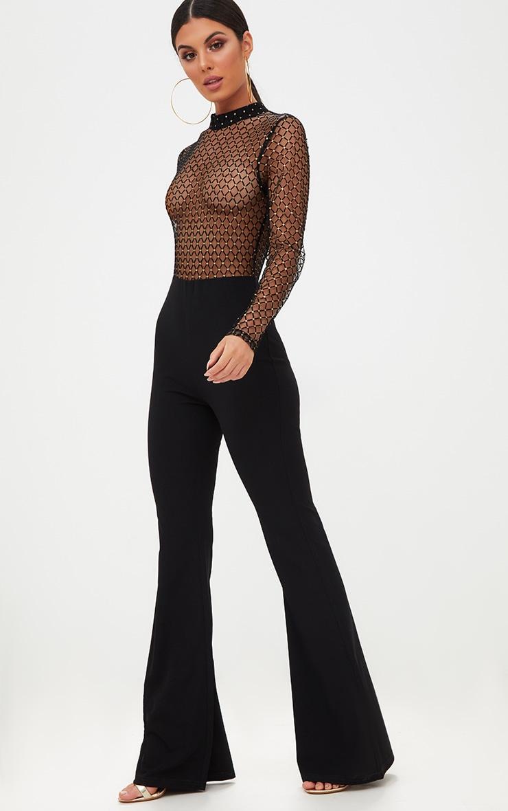Black Sheer Metallic Flock Jumpsuit 1