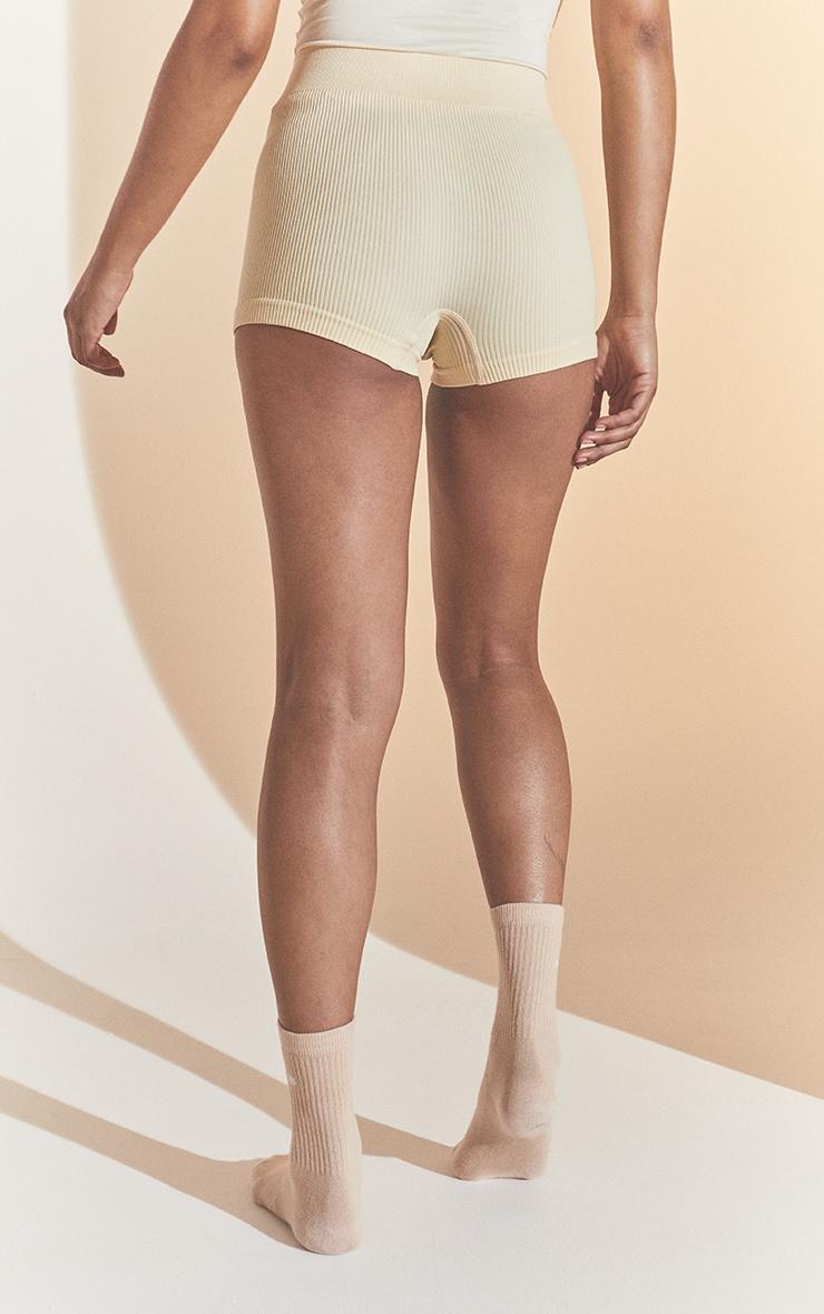 Cream Structured Contour Rib Hot Pants 3