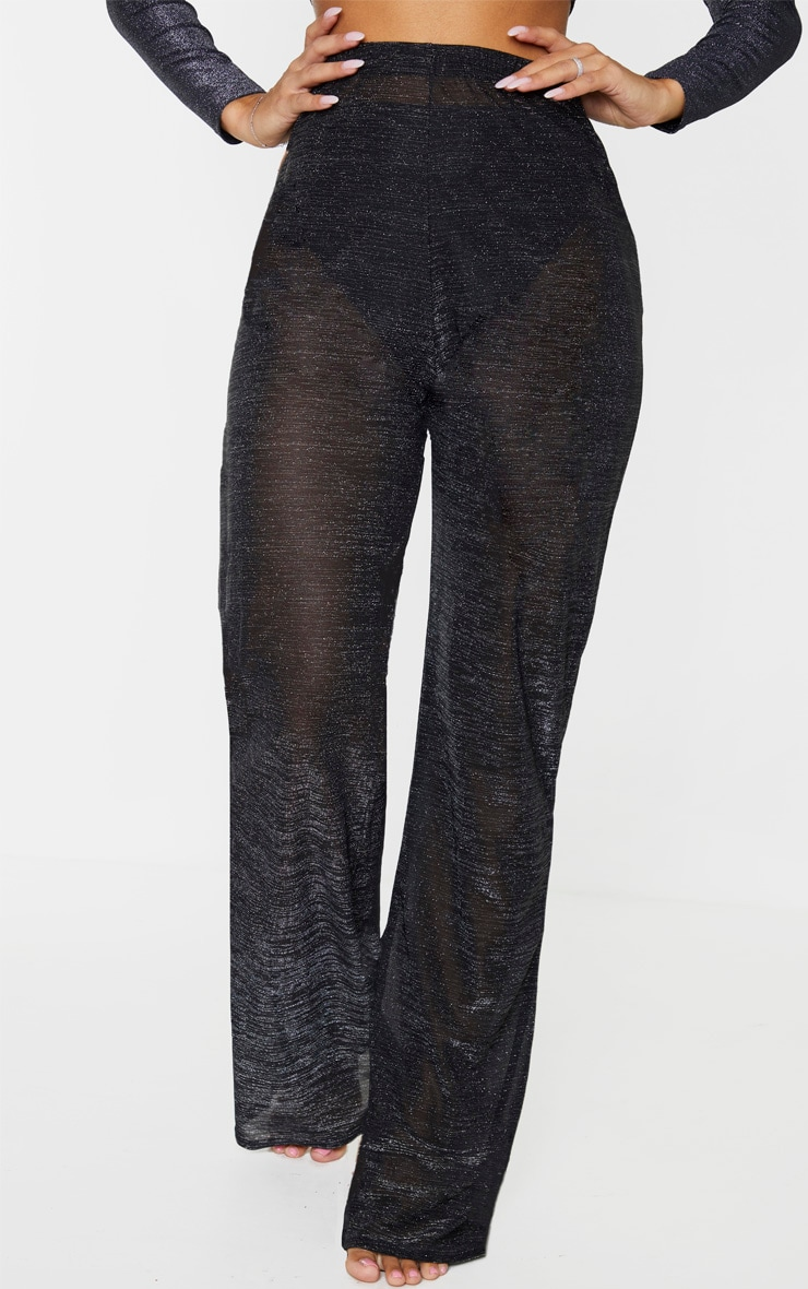 Black Glitter High Waist Wide Leg Beach Pants 2