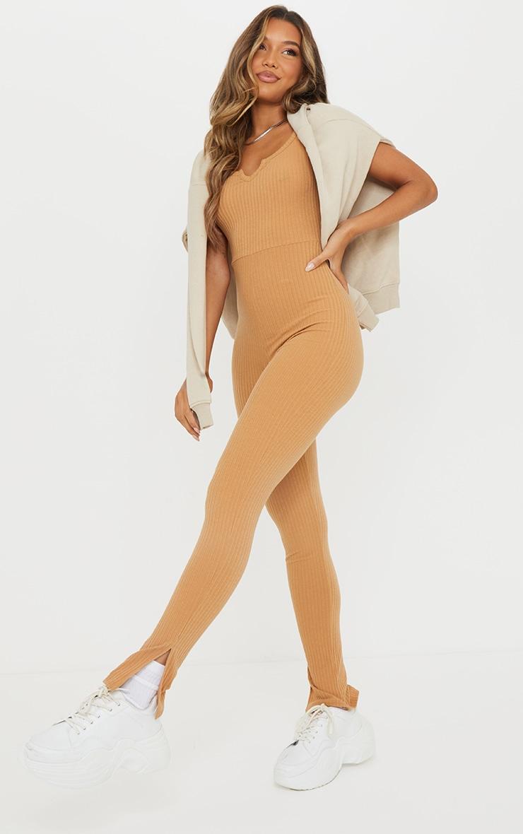 Camel V Detail Short Sleeve Jumpsuit 1