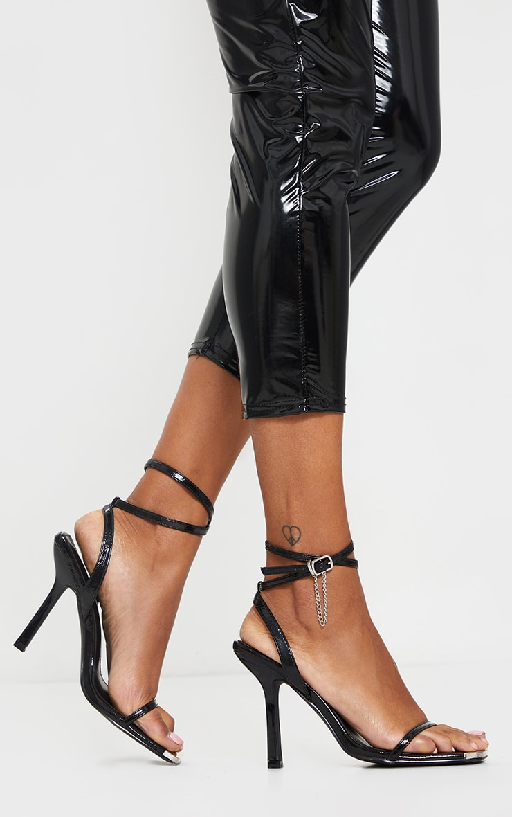 Black Square Toe High Heel Chain Trim Sandals 2