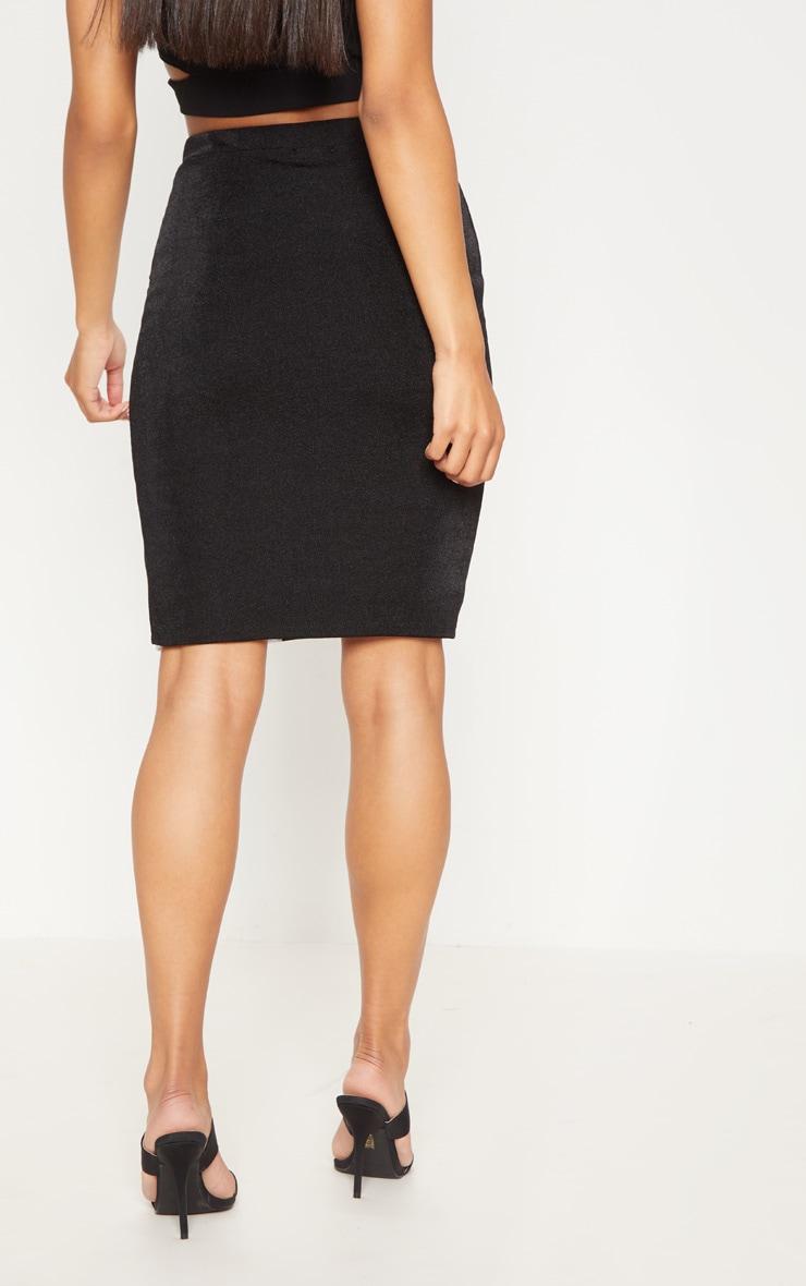 Black Side Stripe Split Hem Detail Midi Skirt 4