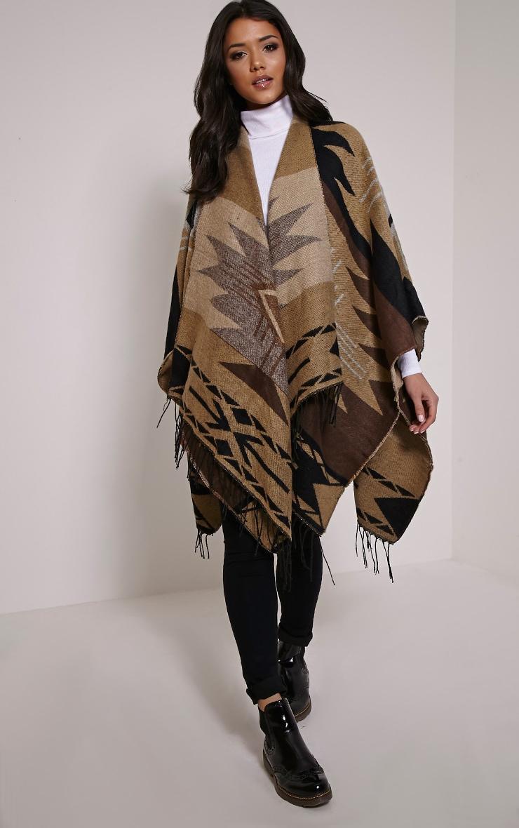 Isabella Brown Aztec Knit Poncho 4