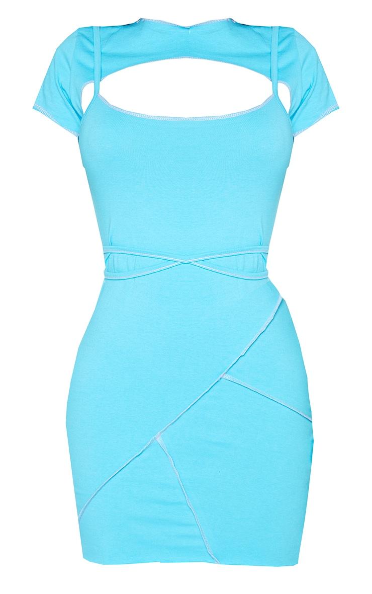 PRETTYLITTLETHING Shape Aqua Overlock Label Strappy Bodycon Dress 5