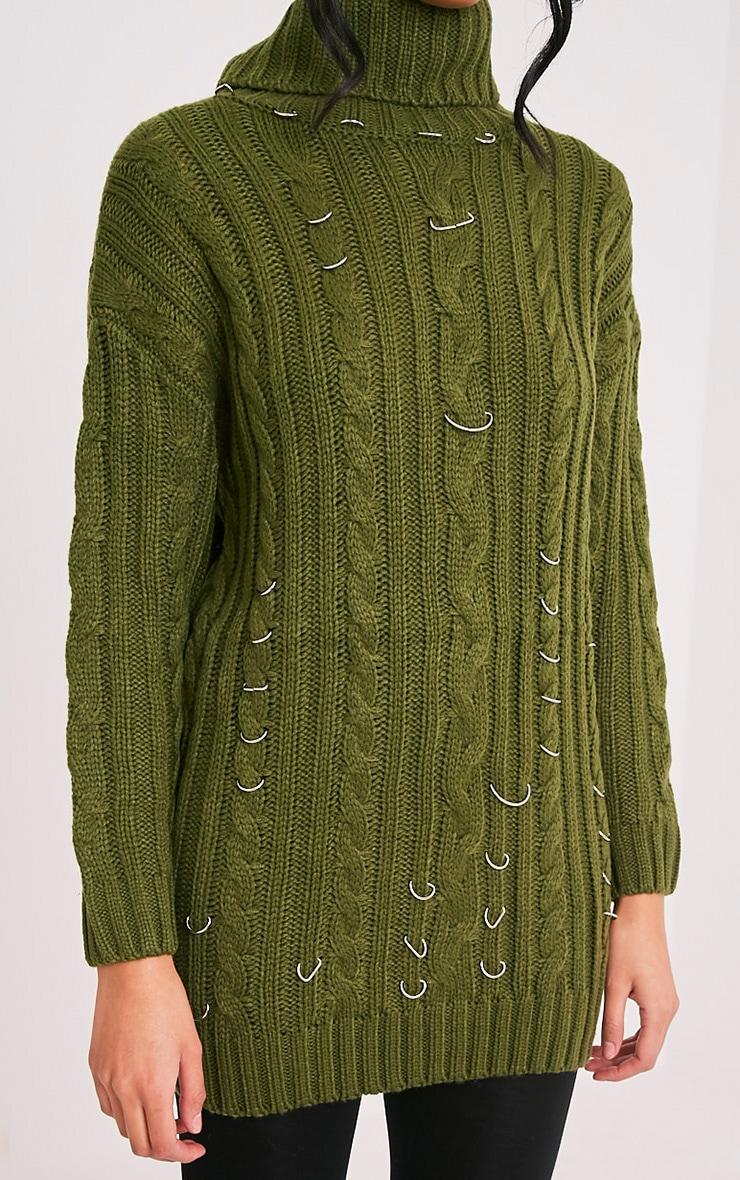 Leilania pull tricoté épais avec anneaux kaki 6