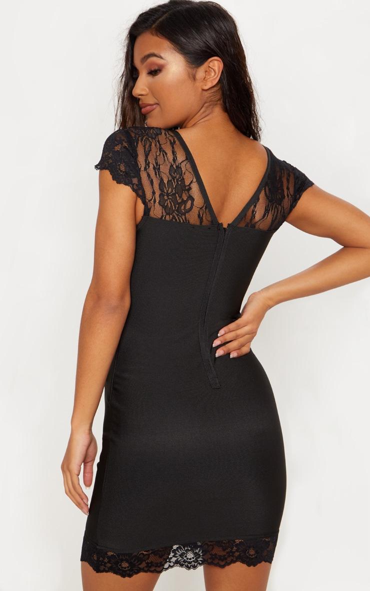 Black Bandage Lace Insert Bodycon Dress 2