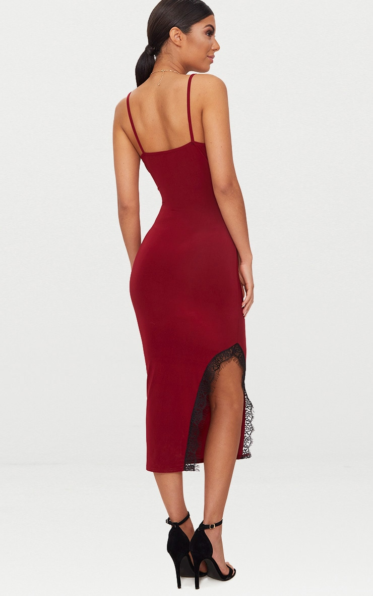 Burgundy Strappy Lace Trim Plunge Split Midi Dress 2