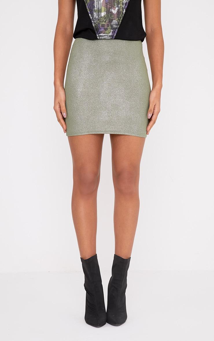Otavia Khaki Metallic Ribbed Mini Skirt 2